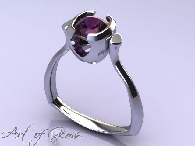 Majesty ring. Purple sapphire bezel set in 14k white gold. Modern ring design. #ArtofGems #ThisOnesMine!