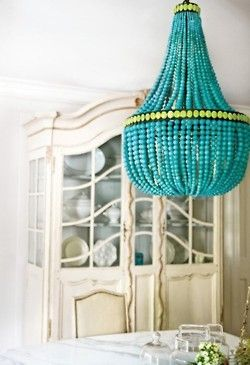 Hippie Hippie Chic: Dining Rooms, Beads Chandeliers, Idea, Turquoise Chandeliers, Lights Fixtures, Turquoi Chand, Color, Diy Chand, Diy Projects
