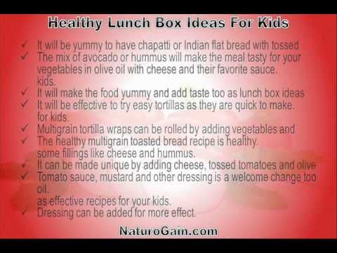 This video describes about easy and healthy lunch box ideas for kids with excellent nutritional value. You can find more detail about Home recipes at http://www.naturogain.com