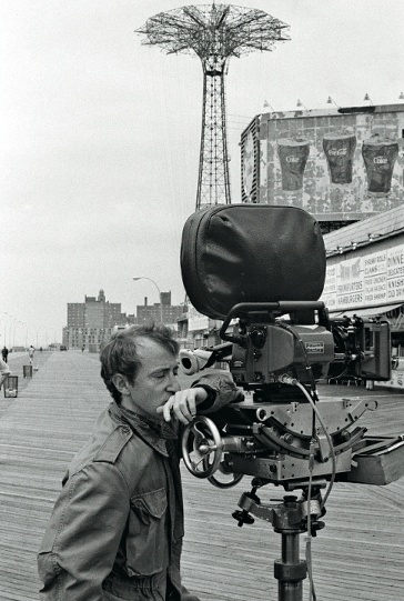 "Actor / director Woody Allen filming a scene at Coney Island, New York for his 1977 film ""Annie Hall""."
