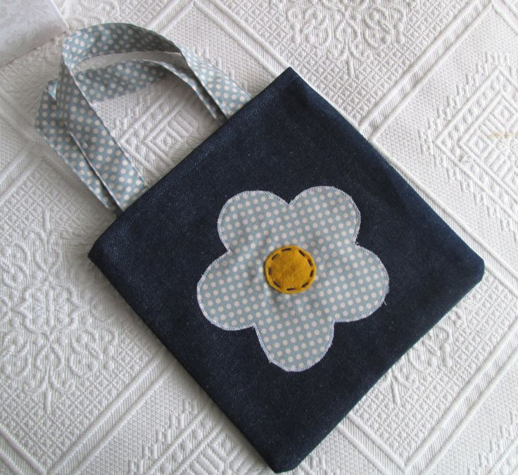 Girl's bag, denim bag for girl, small tote bag by Jamberoon on Etsy