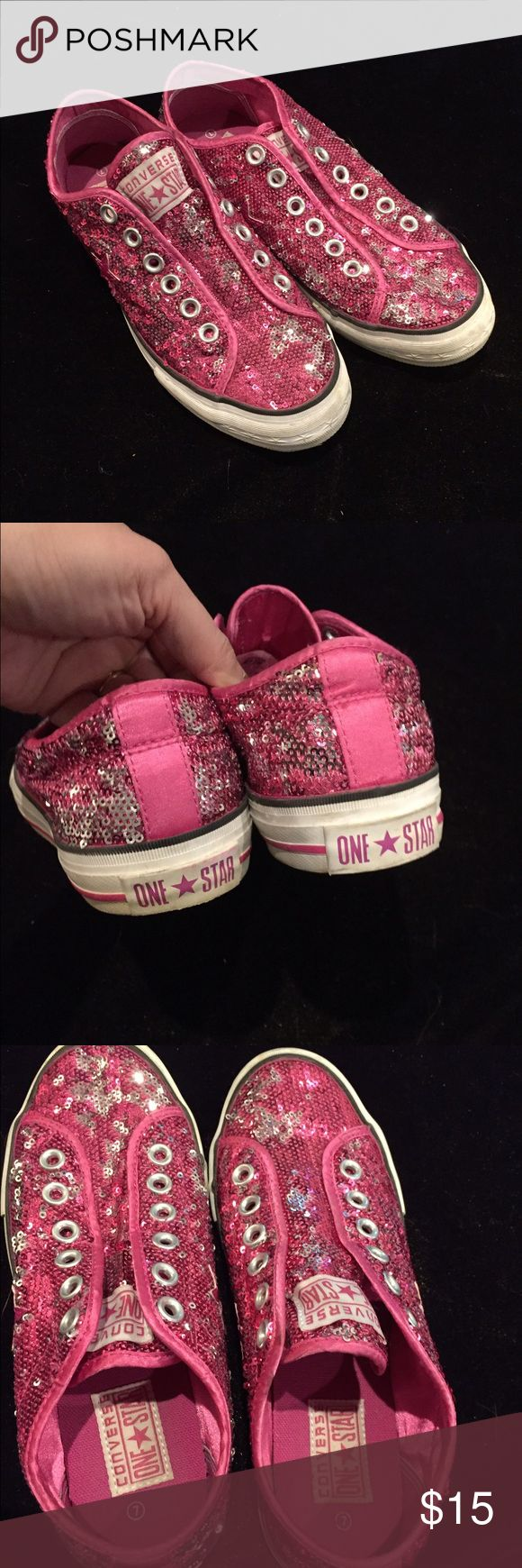 Converse One Star Sparkle Sneaks Great condition and super sparkly! Slip on style! Converse One Star Shoes