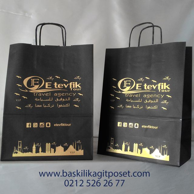 Seyahat Acentası Siyah Baskılı Kağıt Çanta   Beka Kağıtçılık
