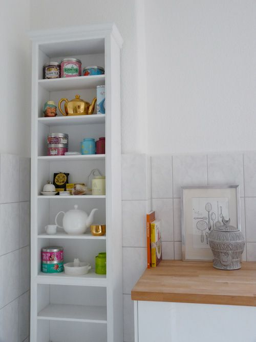 Bookshelf pantry - nice storage solution for a small kitchen.