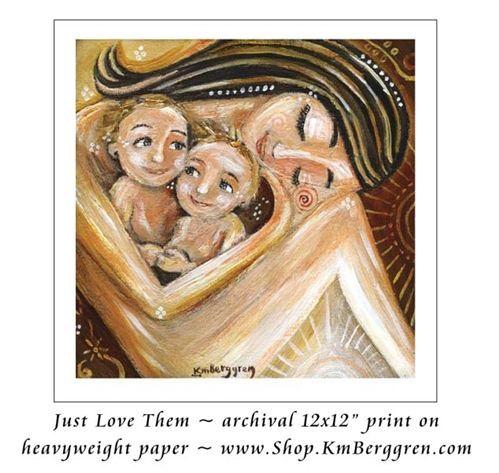 mother, woman, mother and children, 2 kids, two children, emotion, blonde, brown eyes, twins, multiples, motherhood, sisters, brothers, siblings, gift for mom of twins, golden, yellow, warm, gold, long dark hair, brown and yellow, sunlight, sunshine, sun