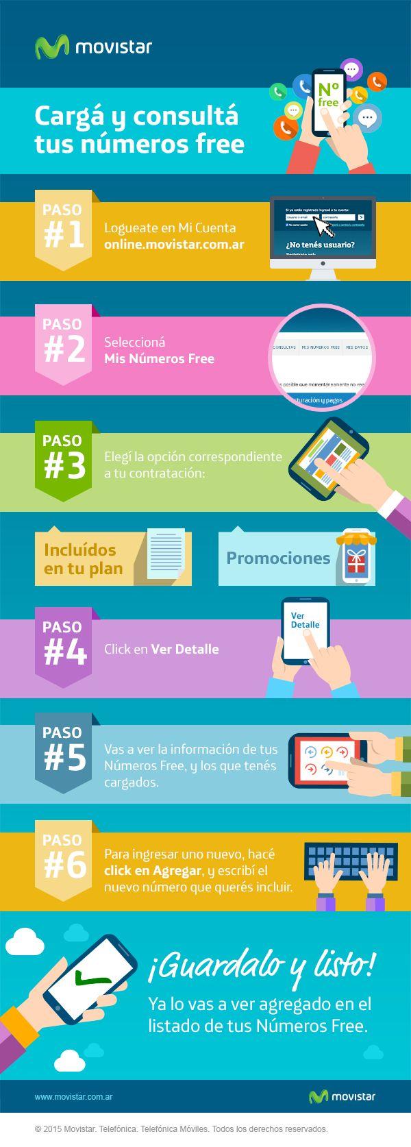¿Cómo cargar o consultar tus Números Free? Accedé a http://online.movistar.com.ar/?utm_source=pinterest&utm_medium=social_media&utm_content=numerofree&utm_campaign=contenidos y seguí los pasos. Si tenés otras consultas, ingresá a http://www.movistar.com.ar/atencion-al-cliente?utm_source=pinterest&utm_medium=social_media&utm_content=numerofree&utm_campaign=contenidos #AtenciónAlCliente - #CargarNúmerosFree #NúmeroFree