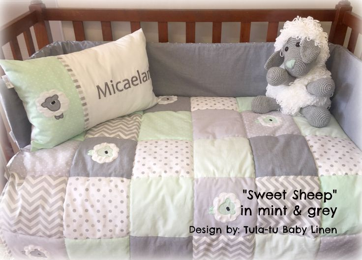 """Sweet Sheep"" nursery linen in grey, mint & white. Linen are made to order by Tula-tu Baby Linen. View more designs on our website: www.tulatu.co.za"