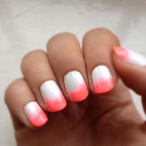 There cute White & Coral Nails I just.  Step 1:paint your nails white until no nail shows Step 2: take a makeup sponge and paint the color you want on the top of the sponge and lightly dab  Step 3: use a regular top coat not matte it will ruin the design  Enjoy!