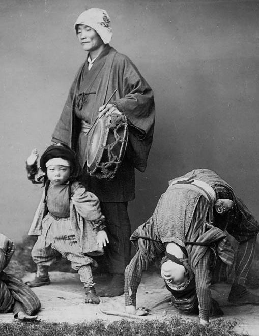 Acrobats [detail]. About 1880's, Japan, by photographer Kusakabe, Kimbei. Smithsonian Institution, Freer Gallery of Art and Arthur M. Sackler Gallery Archives