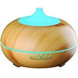 OYOCO 300ml Aroma Essential Oil DiffuserWood Grain Ultrasonic Cool Mist Humidifier 7 LED Color Changing Lamps for Home Office Baby Yoga Spa