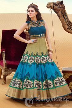 Pleasing Multicolor Printed Raw Silk Anarkali   #Multicolor, #Printed, #Anarkali