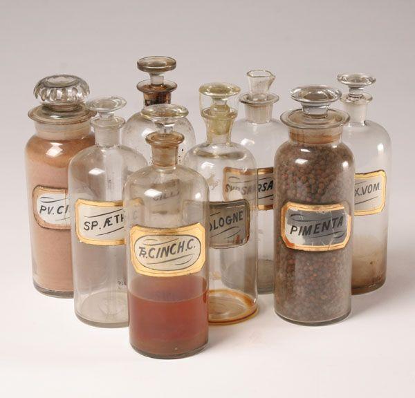 Pharmacy Apothecary Bottles Glass Stopper Label 8