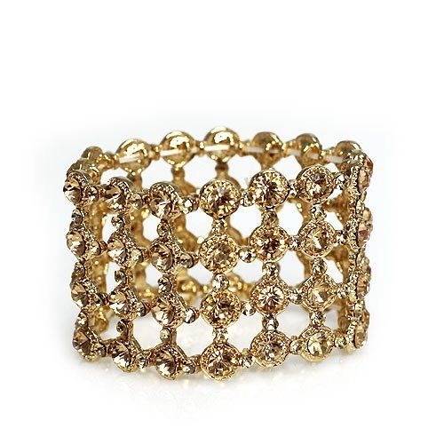 """Fashion Stretch Bracelet; 1.5"""" W; Rose Gold Metal; Champagne toned Rhinestones; Eileen's Collection. $39.99. Save 50% Off!"""
