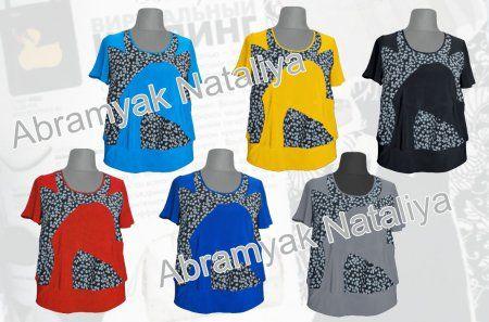 35$ Летняя блузка для полных женщин из трикотажа с комбинацией с шифоном в мелкий цветочек Артикул 770, р50-64