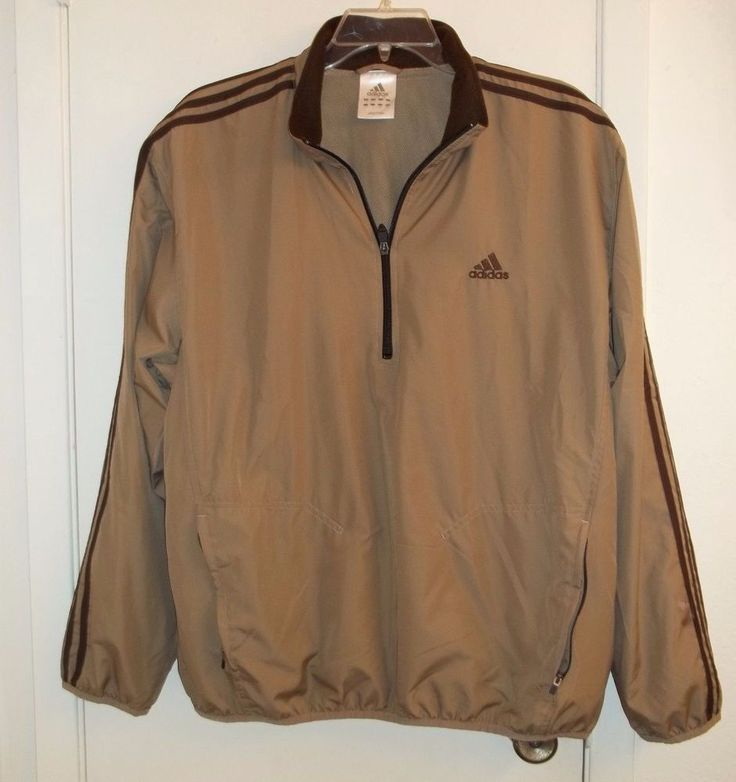 Adidas Size Large Men's Pullover Windbreaker Jacket with 1/2 Zip Tan & Brown  #adidas #Windbreaker