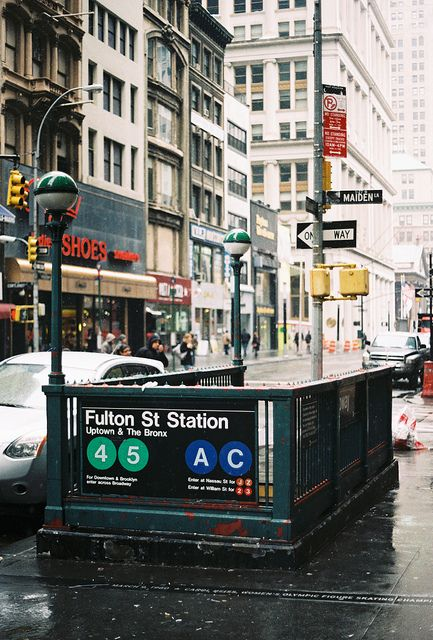 Subway entrance on Fulton Street & Maiden Lane in the NYC Financial District
