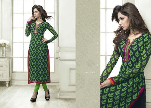 """Designer Wear Printed Georgette Kurti with American Crepe lining in Green color. Length: 45"""" and Size: L, XL."""