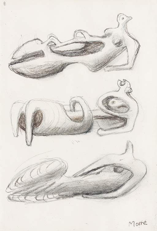 Henry Moore - Ideas for Sculpture: Three Reclining Figures, 1975-76, pencil and charcoal