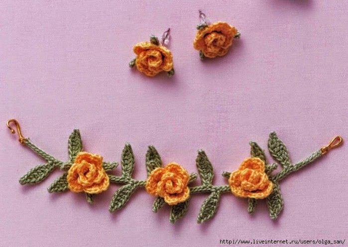 Aros y brazalete tejidos al crochet