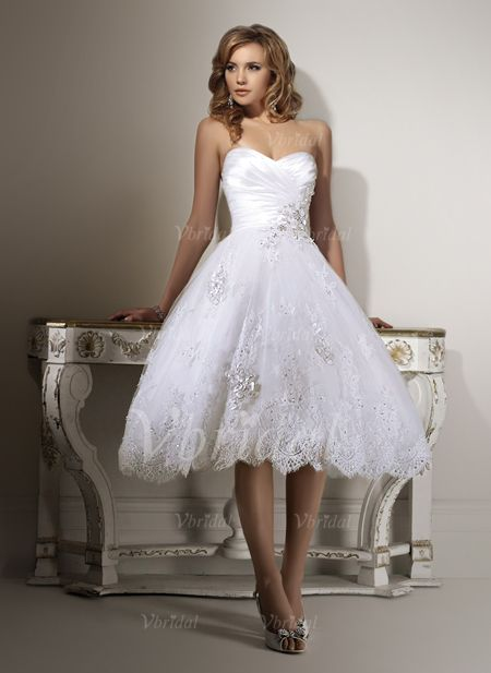 Wedding Dresses - $172.99 - A-Line/Princess Strapless Sweetheart Tea-Length Organza Satin Wedding Dress With Ruffle Beading Appliques Lace (00205001605)