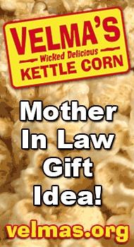 http://velmas.org - Mother in law gift ideas. Kettle corn makes a delicious mother in law gift idea. #mother-in-law #gift #idea #motherinlaw