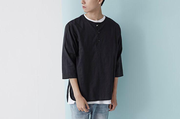 plain-me 搭配自信的一天 - 棉麻七分袖套頭襯衫AUD1886