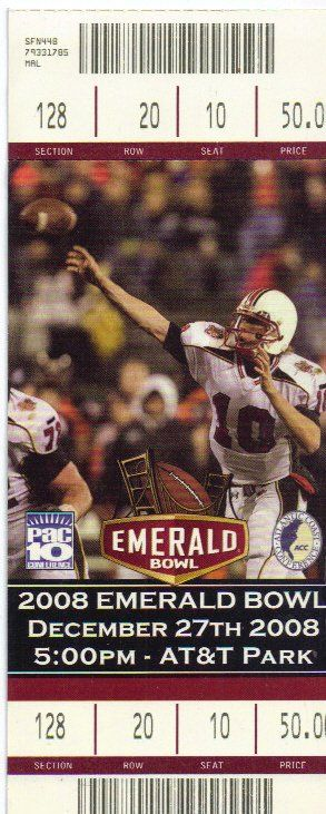 2008 Emerald Bowl Full Ticket Cal Bears Miami Hurricane....if you like this you can find many more college bowl game tickets for sale at www.everythingcollectibles.biz