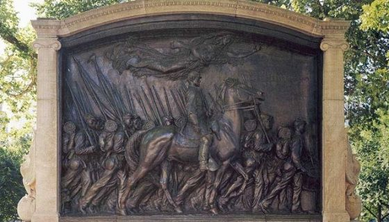 A plaque honoring America's first black Army infantry, the 54th Regiment, now sits at the corner of Beacon and Park Streets in Boston. The Shaw Memorial by sculptor Augustus Saint-Gaudens is a new …