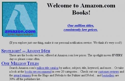 1995'te sadece kitap satışıyla başladı.Daha sonraları siteye Jeffrey Bezos Amazon Nehri adını verdi.