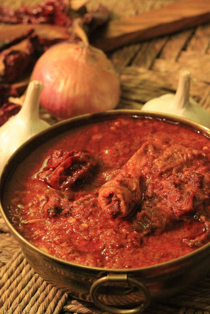 Laal Maas is a Rajasthan speciality - cooked with only red chillies and other spices, it is not for the faint gutted!
