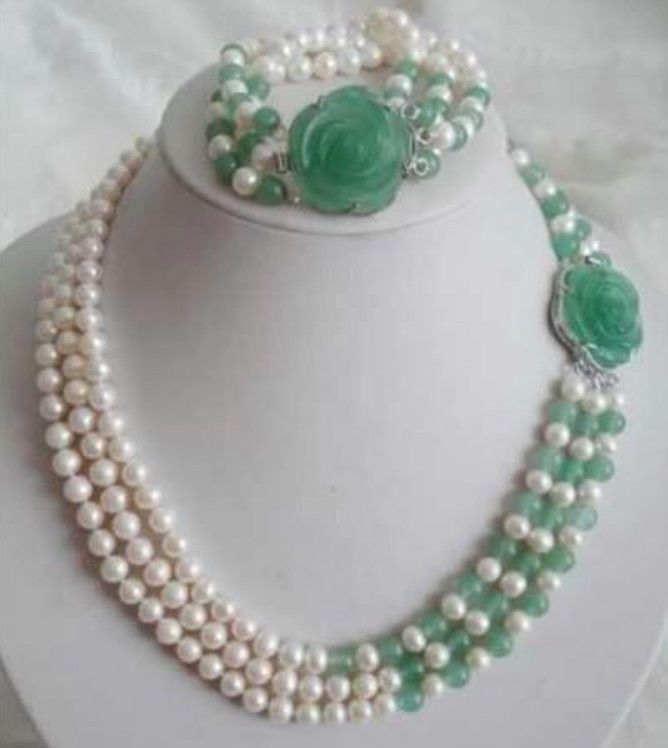 White Akoya Pearl Natural Emerald Necklace Bracelet Set #Unbranded