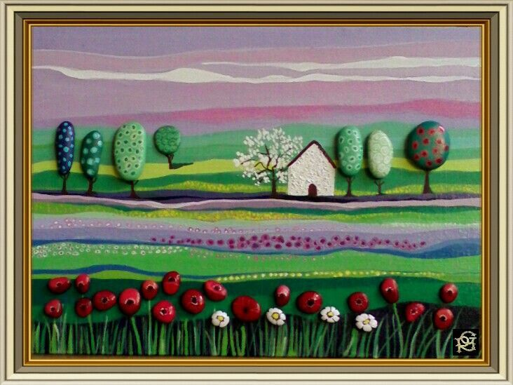 Paesaggio Naif primaverile-Painted Stones di Rosaria Gagliardi
