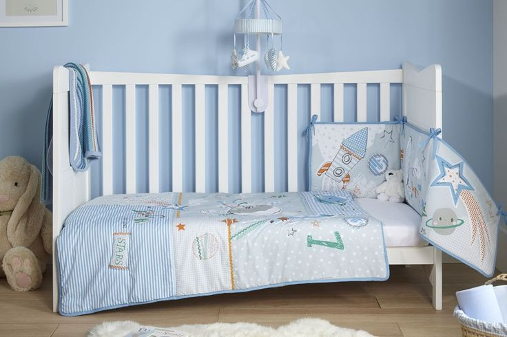 Clair de Lune Forty Winks Cot Bed Quilt And Bumper Blue Bedding Set in blue.  The perfect bedding set for a baby boy!
