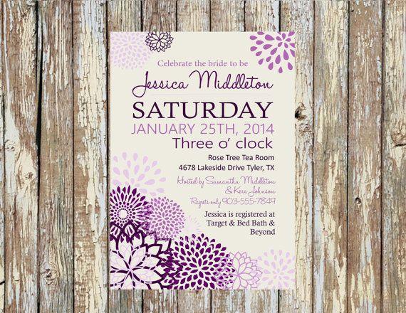 Purple Peonies Invitation: Bridal Shower, Baby Shower, Birthday, Engagement, Rehearsal Dinner