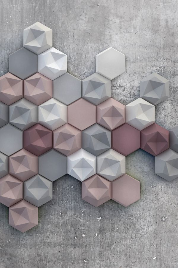 Colour palette grey, white & dusky pink. New Kaza Concrete three-dimensional tile collection @kazaconcrete