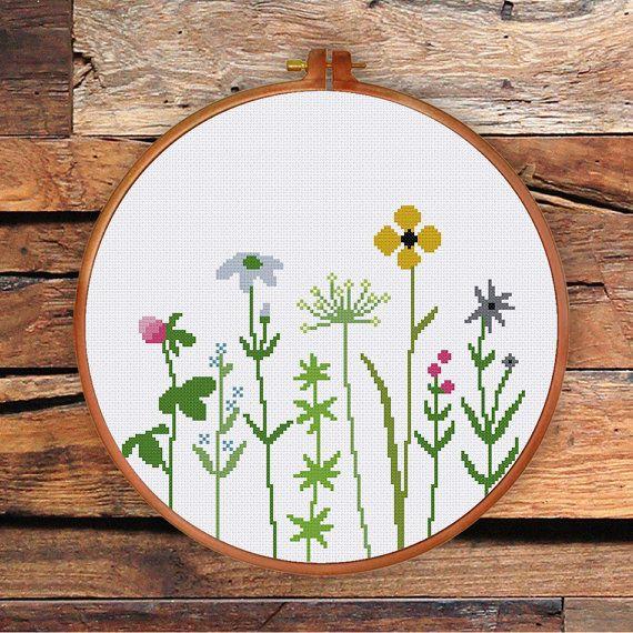 Wildblumen Kreuzstichmuster Moderne süße Blume von ThuHaDesign