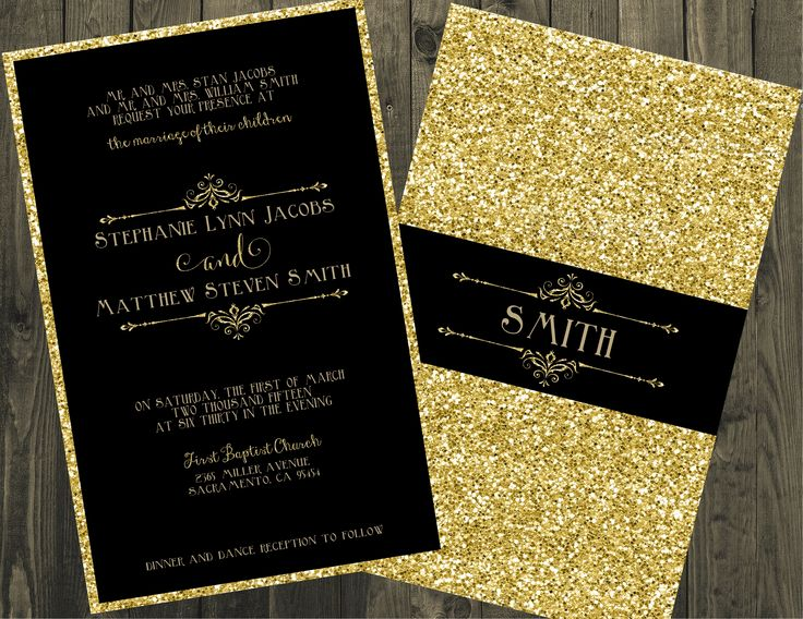 15 best Black and Gold Wedding Invitation images on Pinterest Card