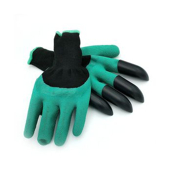 Hot sale Rubber Garden Gloves with 4 ABS Plastic Fingertips Claws for Gardening Raking Digging Planting Latex Work Glove   Price: 2.72 USD