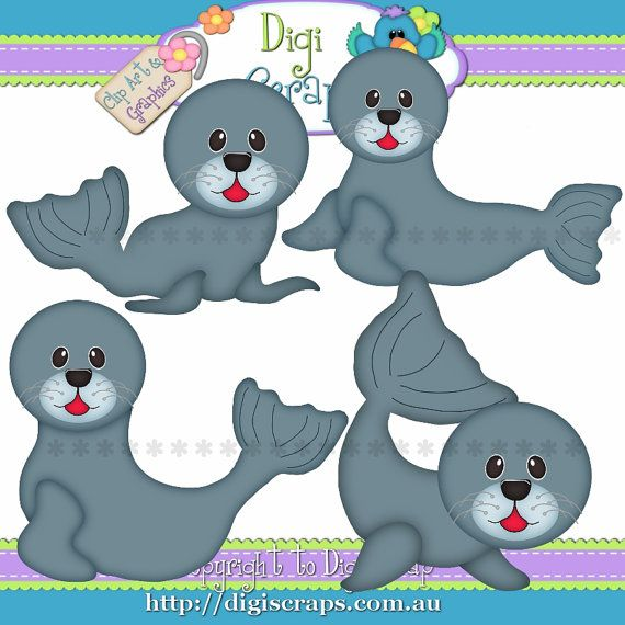 Cute Little Baby Seals Clip Art Set  Clipart by Digiscrapsau, $2.00