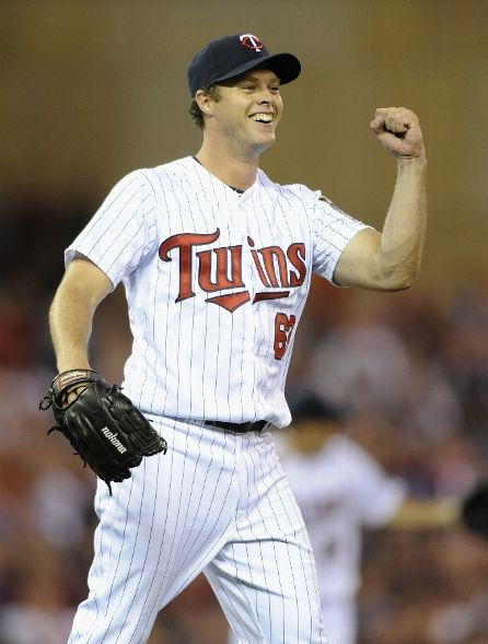 Andrew Albers #63 of the Minnesota Twins celebrates a shutout of the game against the Cleveland Indians on August 12, 2013 at Target Field in Minneapolis, Minnesota. The Twins defeated the Indians 3-0. (Photo by Hannah Foslien/Getty Images)