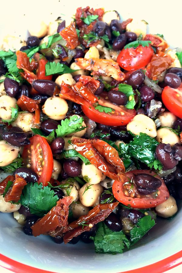 Balela Salad - Mediterranean vegan salad with chickpeas, black beans and olives