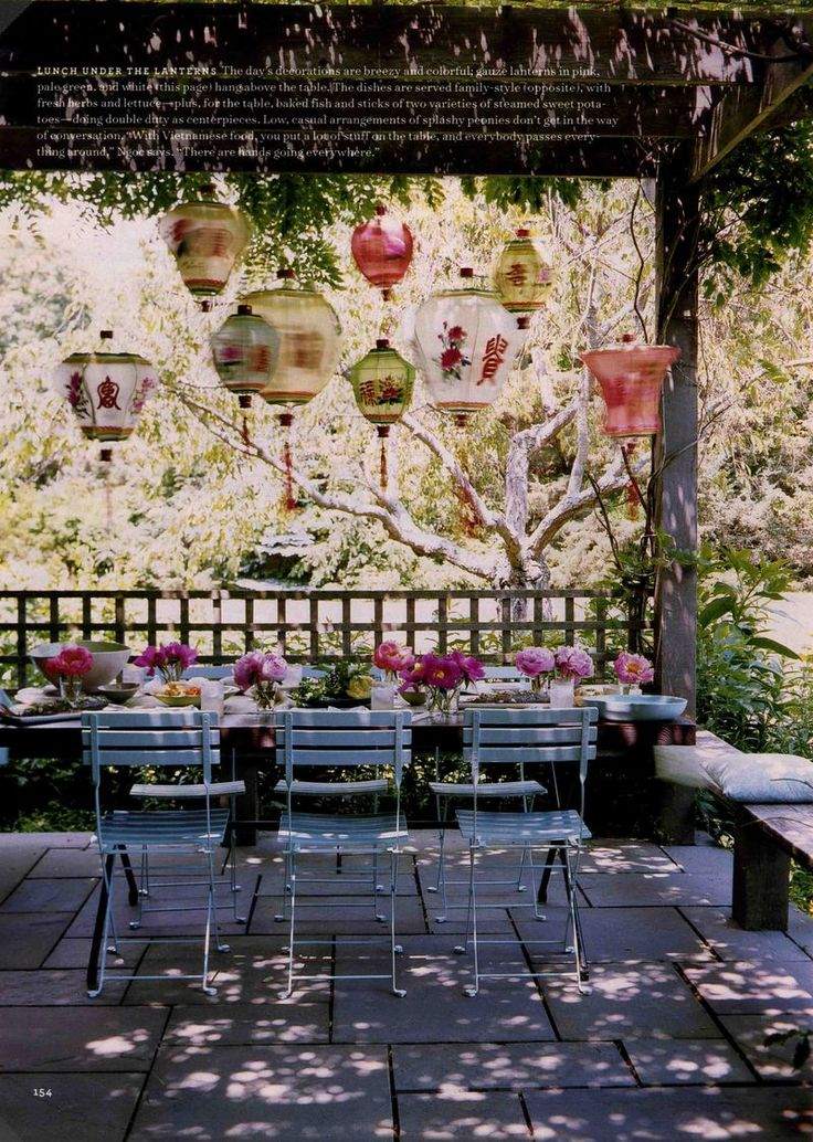 chinese paper lanterns create a lovely atmosphere...
