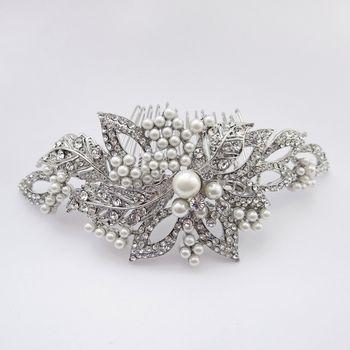 http://styleyourday.com.au/products/Antique_Silver_Rhodium_Diamond_Pearl_Rhinestone_Comb-789-111.html #antiquebridalcomb