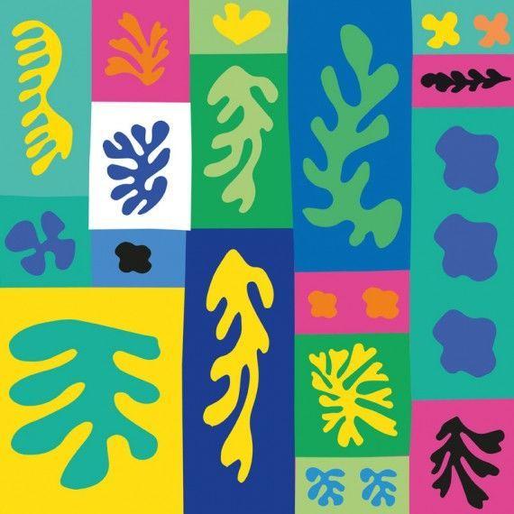 Collage aus Matisse Scherenschnitten - Vorlagen für Scherenschnitt-Collagen nach Henri Matisse. Die Scherenschnitt-Vorlagen können mit Wasserfarben koloriert oder auf farbiges Papier gedruckt werden. Nach dem Ausschneiden werden die Motive zu farbenfrohen Papier-Collagen aufgeklebt. Ein fantastisches Projekt für die Gruppenarbeit!