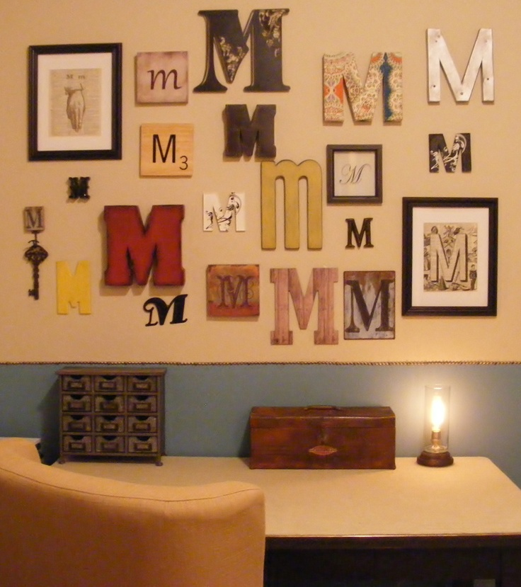 initial wall, letter art.  contact Nicole https://www.facebook.com/#!/pages/My-nest-interiors/275651587374                                                                                                                                                                                 More