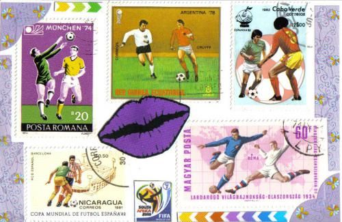 The first football postcard we made using stamps