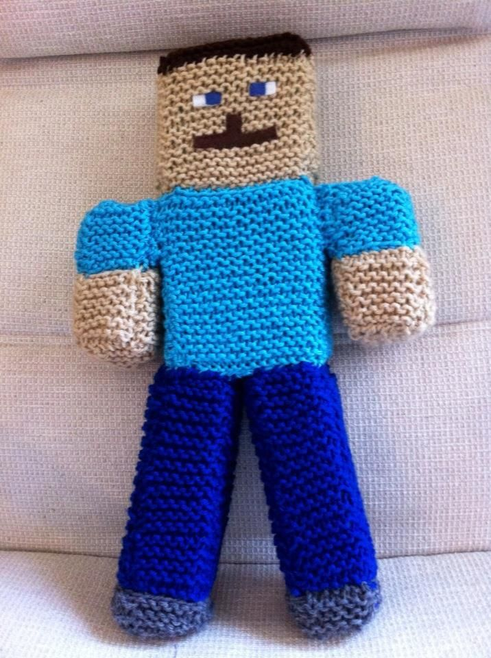 "A handcrafted ""Steve"" for the minecraft enthusiast.  Very simply knit in garter stitch and filled with foam cubes."
