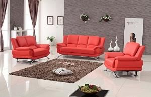 Preview Milano Contemporary Leather Sofa Set (RED) by Pakjinsu