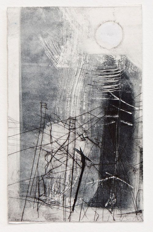 Kate Downie. Ghost Sun in the Northern City, 2013. Monoprint with drypoint and collage on paper, 25 x 16 cm. Copyright the artist. Photograph: Michael Wolchover.