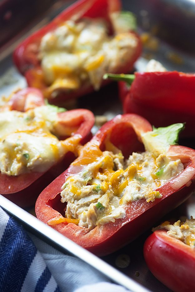 These low carb stuffed peppers are filled with a spicy cream cheese chicken filling! So good and perfect for a keto diet!